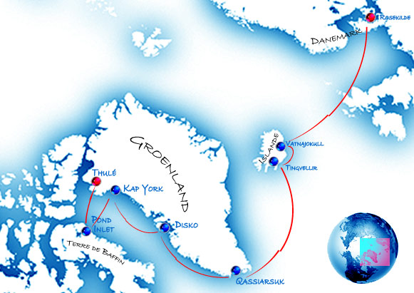 Itinéraire de l'expédition en Arctique